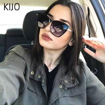 2019 새로운 브랜드 디자이너 Cateye 선글라스 여성 빈티지 금속 안경 여성용 거울 Retro Lunette De Soleil Femme UV400