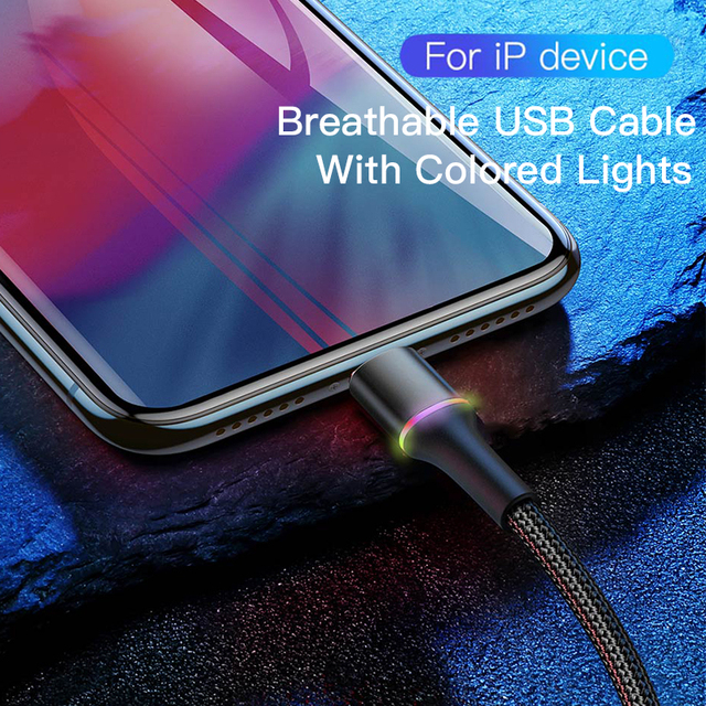 Baseus USB Cable For iPhone 12 11 Pro XS Max Xr X 8 7 6 LED Lighting Fast Charging Charger Date Phone Cable For iPad Wire Cord 2