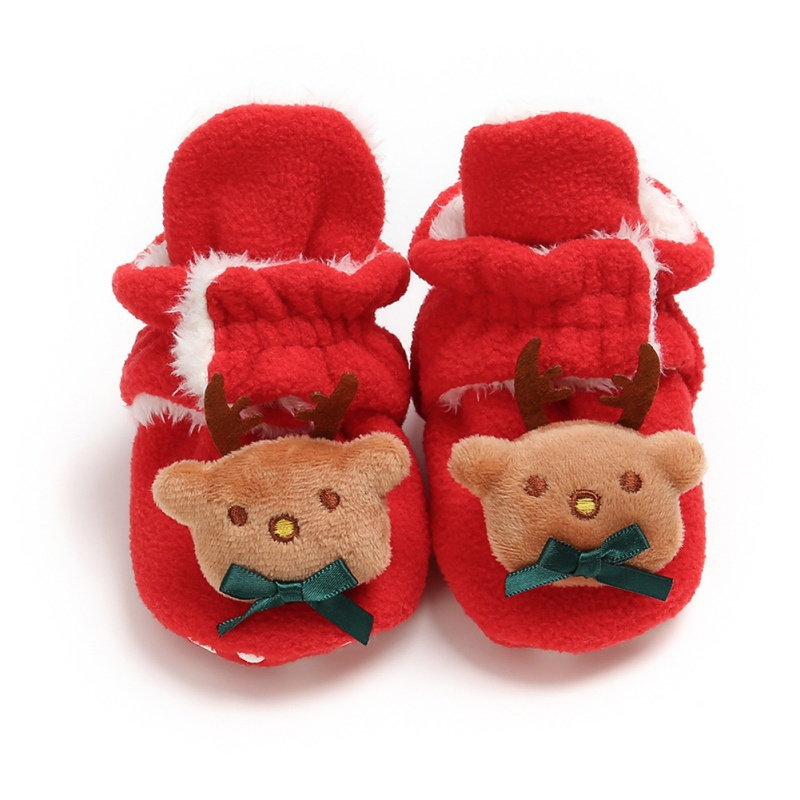 Newborn Cute Winter Warm Boots Fashion Infant Toddler Non-Slip Soft Sole Crib Shoes 0-18M Baby Girls Boys Christmas Booties