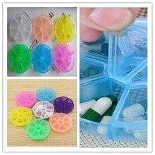 1 mini plastic empty pill box 7 slot round rotating independent cover box jewelry box travel capsule health kit