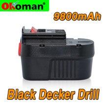 12v 9800mah black & decker a12 a12ex fsb12 fsb12 fs120b a1712 hp12k hp12 bateria recarregável substituída por ni mh bateria