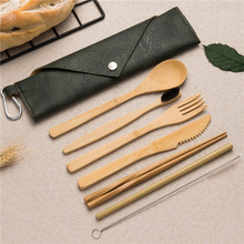 Eco-Friendly Cutlery Set Wooden Bamboo 20CM Spoon Fork Knife Chopsticks Kitchen Kit for Shcool Work Outdoor Travel