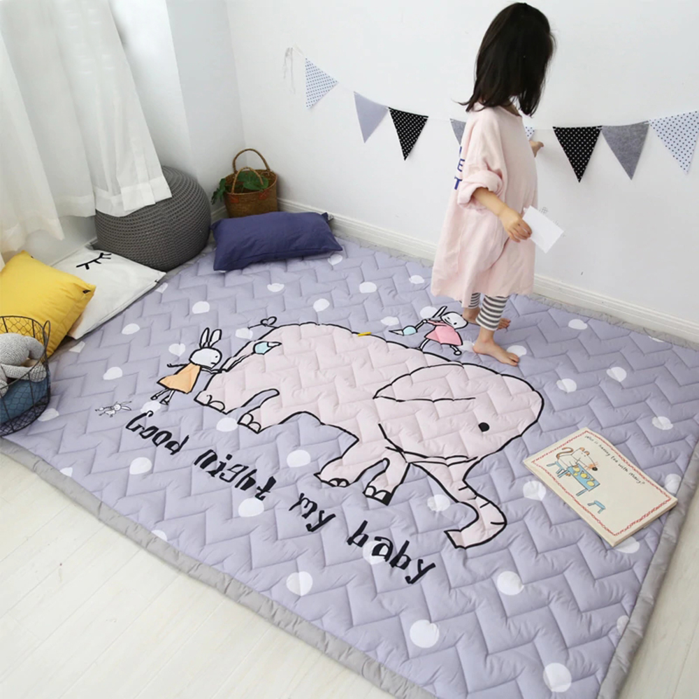 140X200CM 55X78IN Play Mats 3CM Thickening Cotton Mat Elephant Pattern Cartoon Blanket Machine Washable Rugs