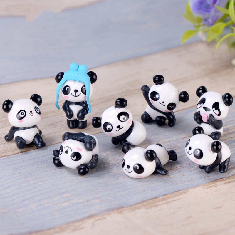 8pcs/set Cartoon Cute Pandas Dolls Models Figma Anime Figure Assembly Ornaments DIY Creative