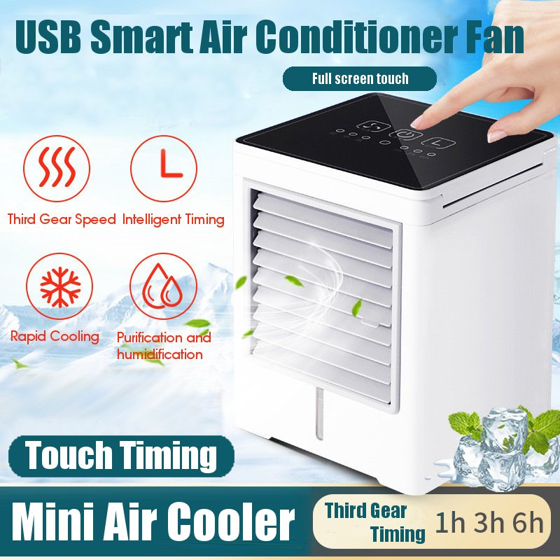 USB Touch Screen Air Conditioning Mini Timing Air Cooler Appliances Small Air Cooling Fan Home Summer Portable Conditioner