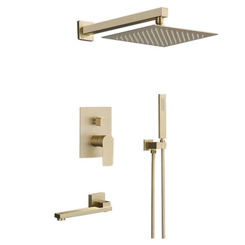 Brass Bathroom Shower Faucet  Mounted Brushed Gold Shower Faucet, Bathroom Cold and Hot Bath and Shower Mixer Taps gappo white shower faucet rainfall bath tub taps brass bathroom shower mixer taps bath faucet mixer wall mounted shower