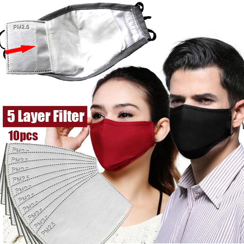 Anti Pollution PM2.5 Mask Washable Reusable Muffle Face Mouth Mask Flu Dust Exhaust Masks 10pcs Filter Respirator Filters