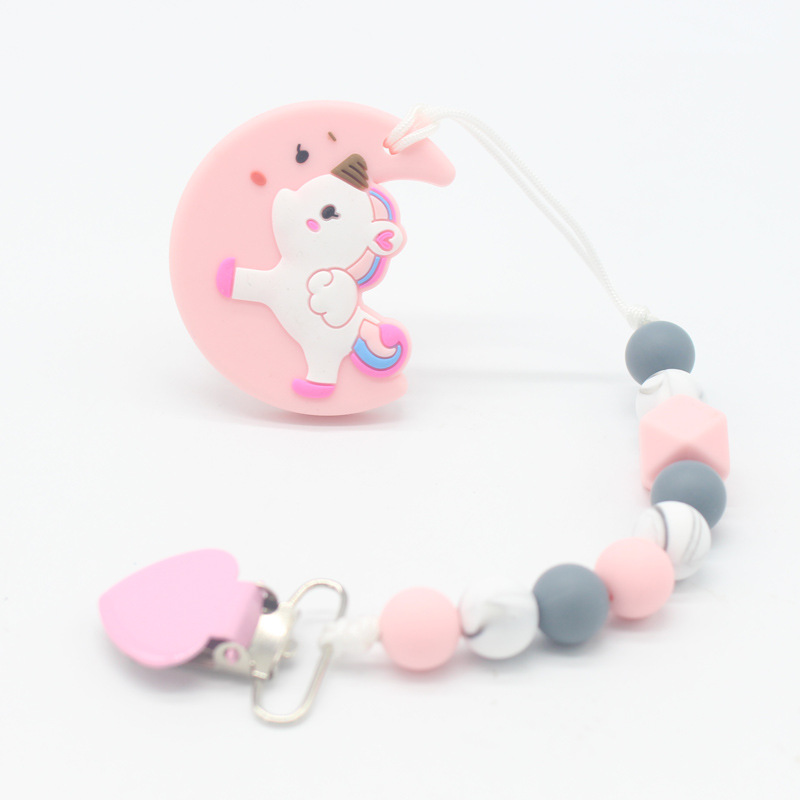 1Pcs Baby Pacifier Clips Love Pacifier Chain Holder For Baby Teething Soother Silicone Loose Beads Baby Chew Toys Dummy Clips