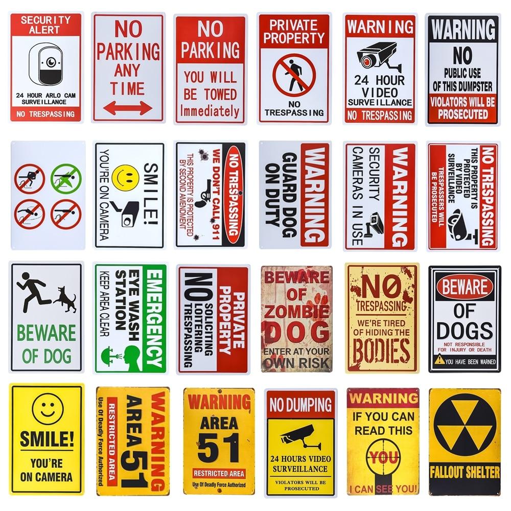 Retro Metal Tin Signs Warning Fart Zone Plate Notice Beware Art Wall Decor
