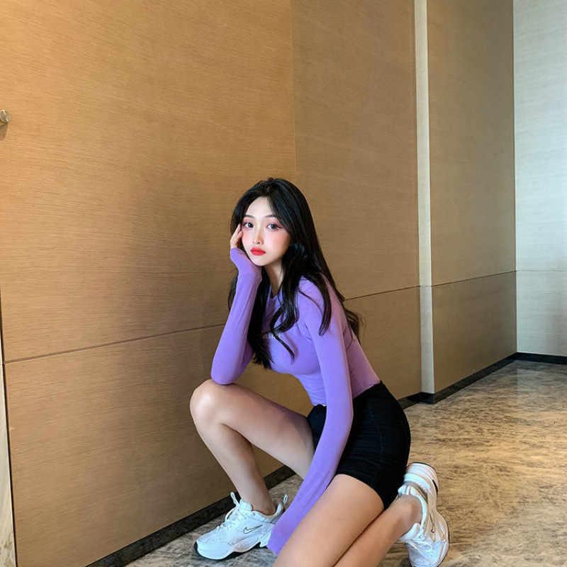 ฤดูใบไม้ร่วงฤดูหนาวแขนยาวเสื้อยืดผู้หญิงเซ็กซี่ยืดหยุ่น Tees สไตล์เกาหลีพิมพ์ TShirt หญิงแฟชั่นฤดูใบไม้ร่วงสีชมพูเสื้อสีขาว