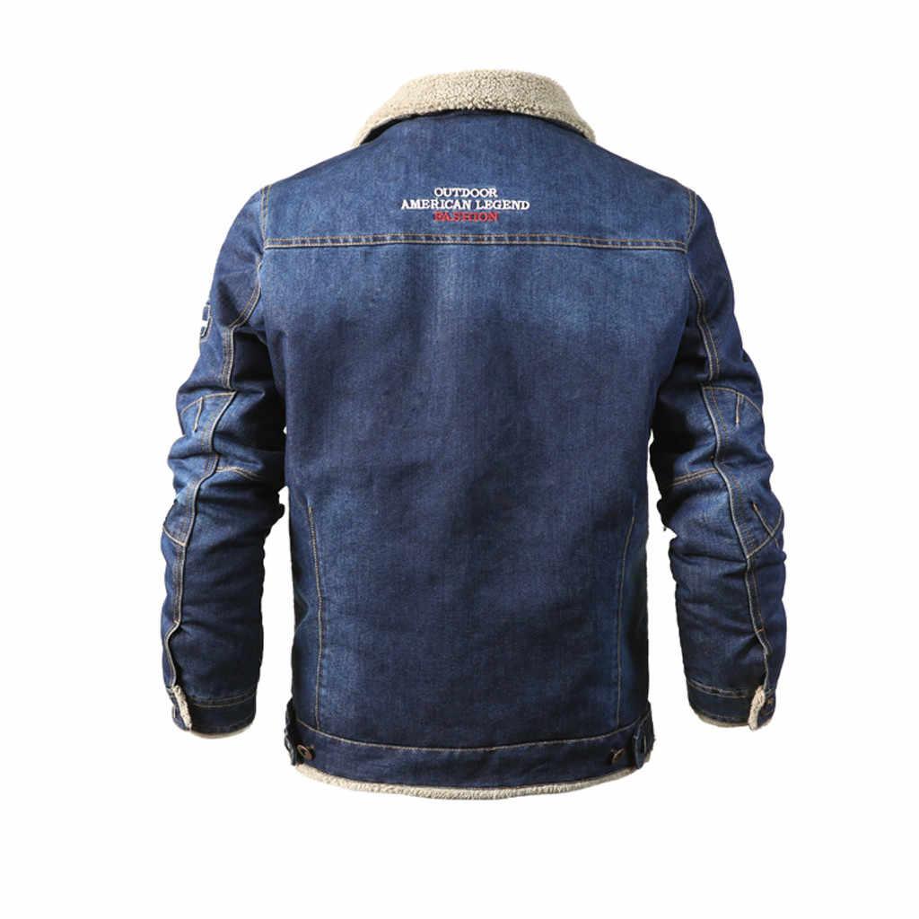 新ブランドぬいぐるみデニムメンズジャケット秋冬軍事ジーンズジャケット男性厚く暖かい爆撃機陸軍メンズジャケットコート #60