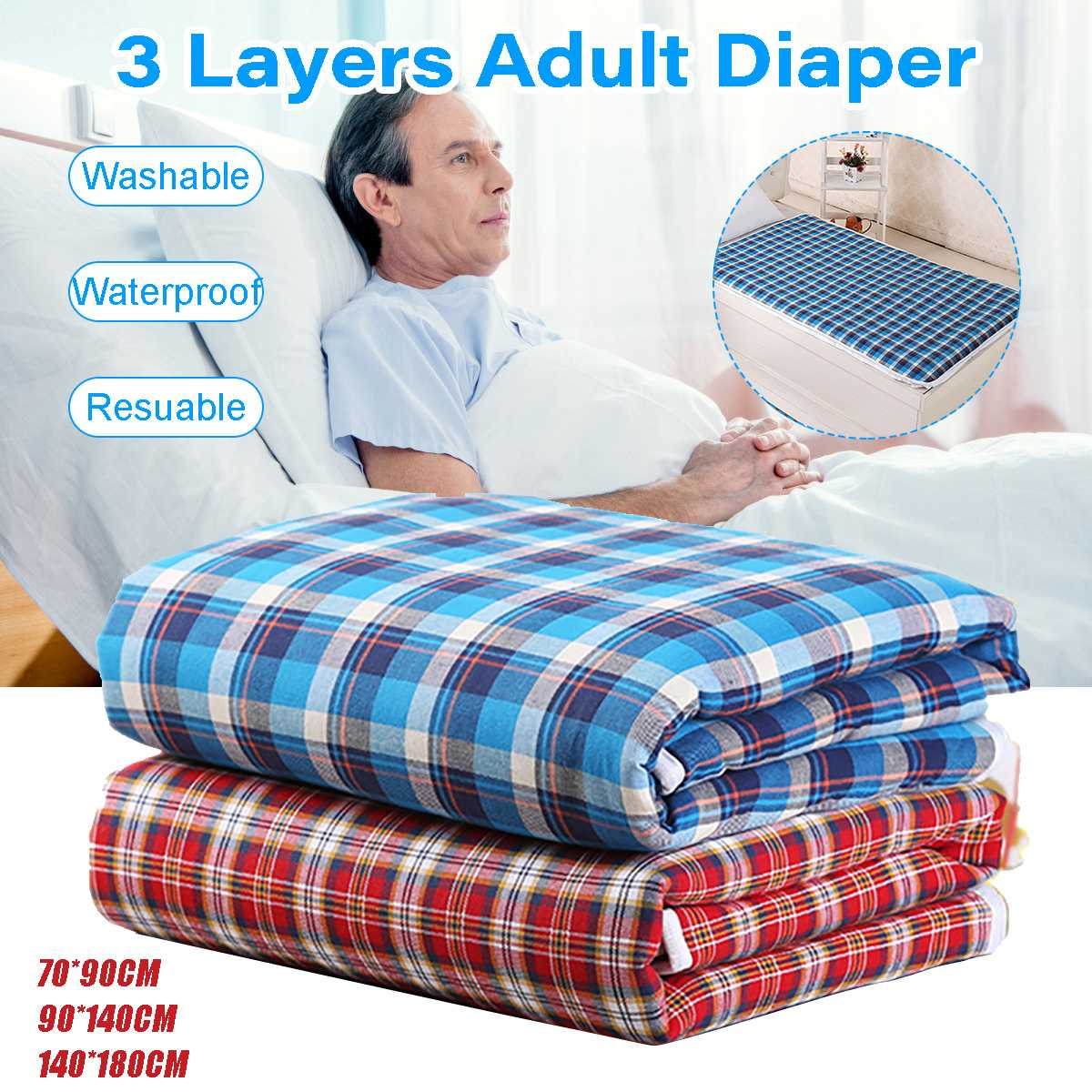Kids Adult Mattress Cover Washable Reusable Protector Waterproof Underpad Bed Pad For Incontinence Patient Pad Cover Mattress image