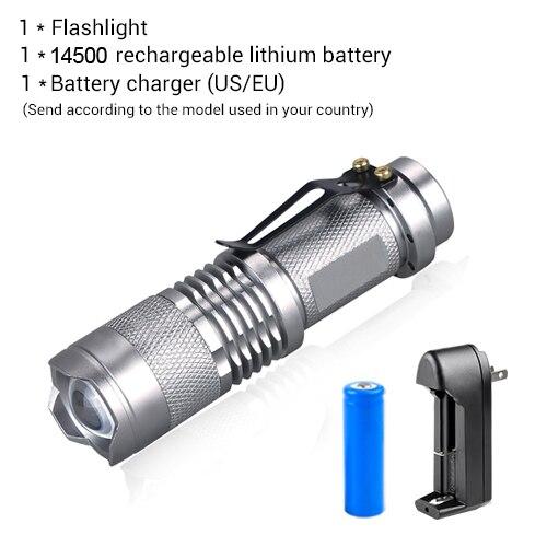 Мини-фонарик с регулируемым фокусом CREE Q5 2000 люмен светодиодный фонарь AA 14500 фонарь Linterna светодиодный с креплением - Испускаемый цвет: Package B Gray Body