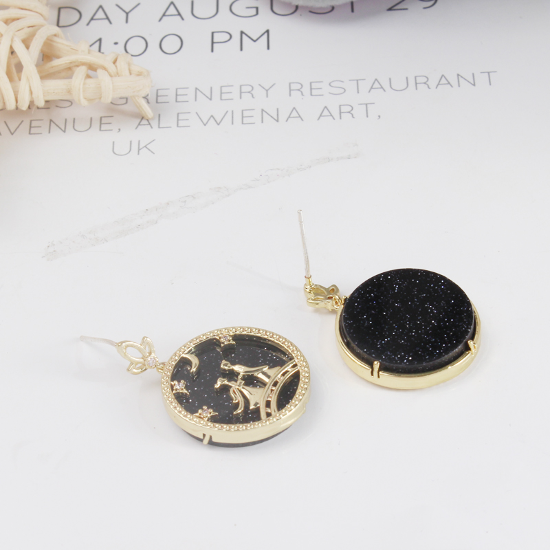 2019 New Hot Retro Black Round Acrylic Myth Fairy Figure Love Earrings For Women Engagement Jewelry Valentine's Day Gifts