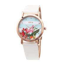 Flamingo Flower Women Watch Original Design Pattern Candy Leather Strap Lovely for Girls