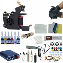 купить Complete Tattoo Kit Rotary Tattoo Machine Set 8 Coils Wraps Machine Black Power Supply Permanent Makeup 6 Colors Tattoo Ink Set в интернет-магазине