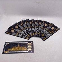 10 шт., фольга черного золота, 100 долларов США, памятные банкноты, Декор