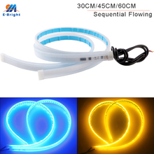 50Pairs 30cm 45cm 60cm Auto Sequentielle Fließende LED Flexible Streifen Tagfahrlicht Weiß Blau Mit gelb Blinker