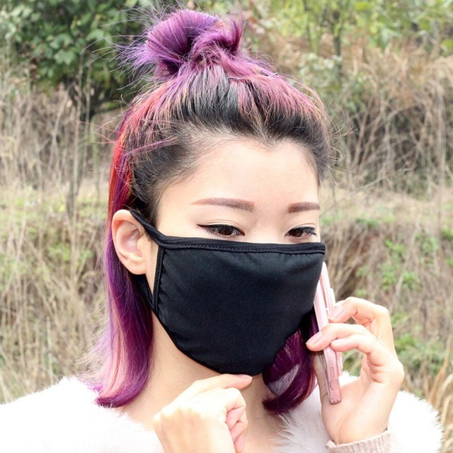 3pc Reusable IN STOCK Mask Cotton Comfy Breathable Safety Air Fog Respirator Masks for Women Black mouth Mask 3