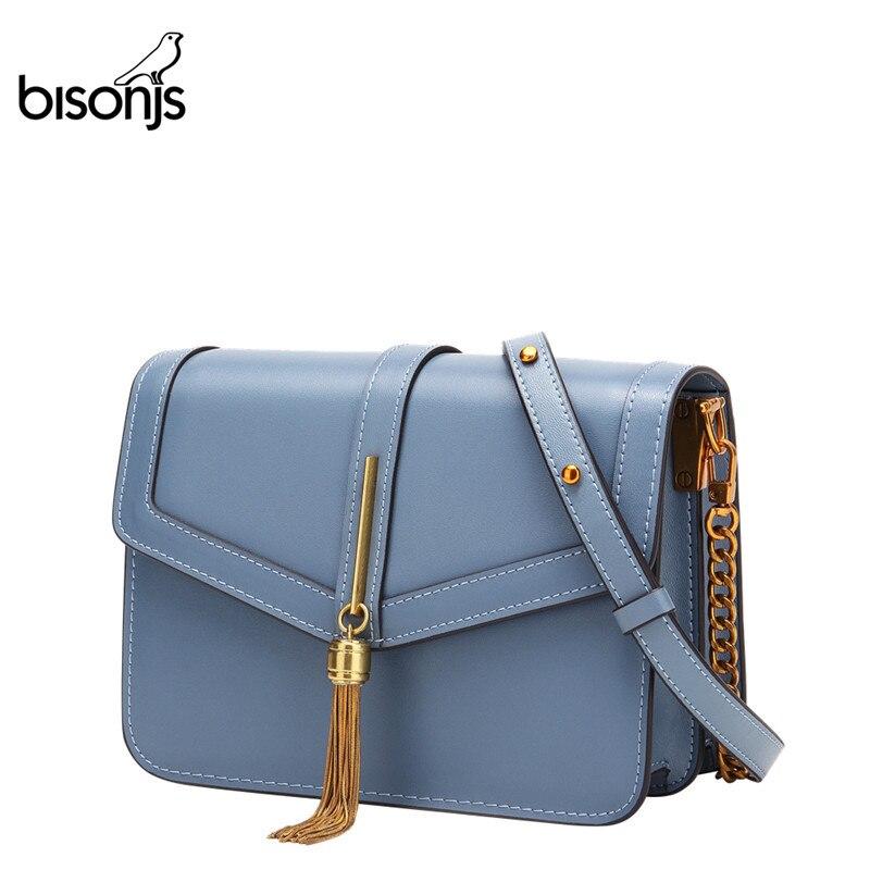 Женская сумка-мессенджер BISONJS, винтажная сумка через плечо из коровьей кожи с кисточками, B1633