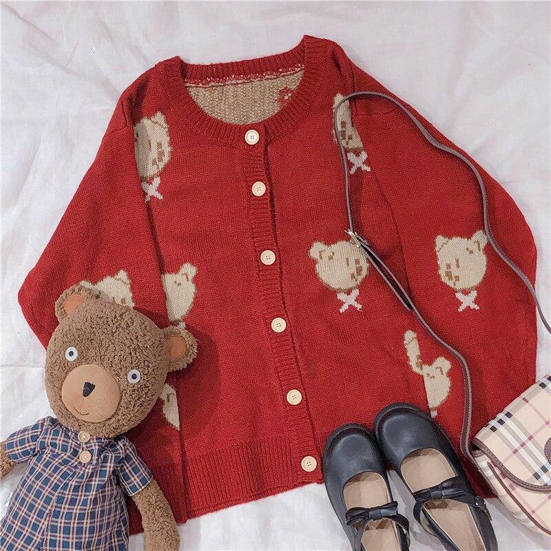 Autumn Vintage Mori Girl Lolita Kawaii Bear Pattern Knitted Sweater Japanese Girl Korean Women Cardigan Coat Knitwear Christmas