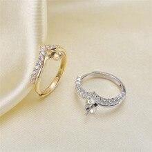 Кольцо с креплением, жемчужные аксессуары, регулируемый размер, 925 пробы, серебряное кольцо, ювелирное изделие, сделай сам, без жемчуга