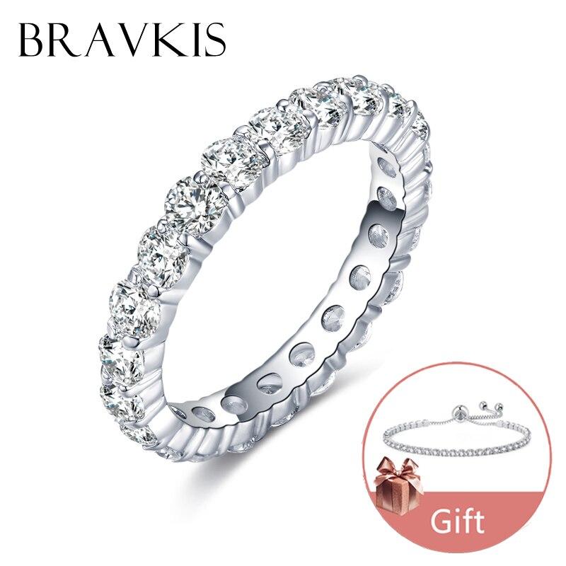 BRAVKIS bandes de mariage anneaux d'éternité avec zircone pour les femmes CZ cristal promesse Bague de fiançailles Bague bijoux BUR0279