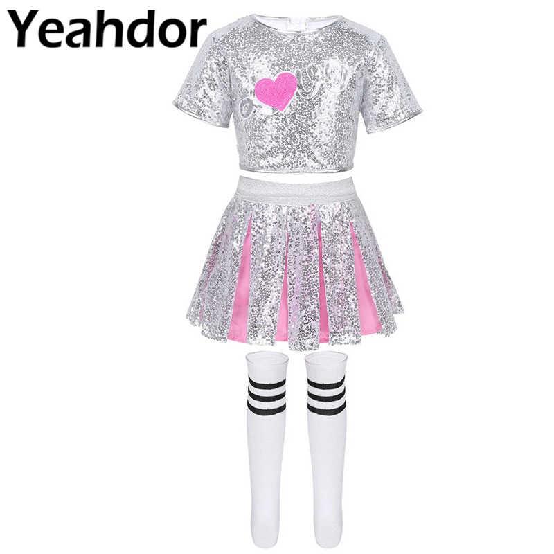 Trajes de baile de Jazz moderno Hip Hop para niñas, lentejuelas brillantes, Camiseta corta de manga corta con calcetines para falda, conjunto de baile callejero