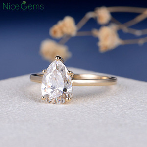 Image 4 - NiceGems 18K Yellow Gold 2 Carat Pear Cut Moissanite Engagement ring 5 prong set D Color For Women Wedding anniversary gift