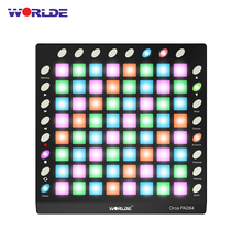 WORLDE ORCA PAD64-A Portable USB MIDI Drum Pad Controller Backlit Pads 24 Buttons Built-in 128MB Sound Module with USB Cable