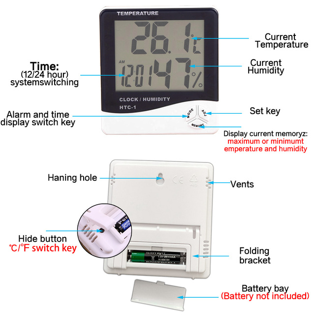 LCD Electronic Digital Temperature Humidity Meter Thermometer Hygrometer Indoor Outdoor Weather Station Clock HTC-1 HTC-2 2