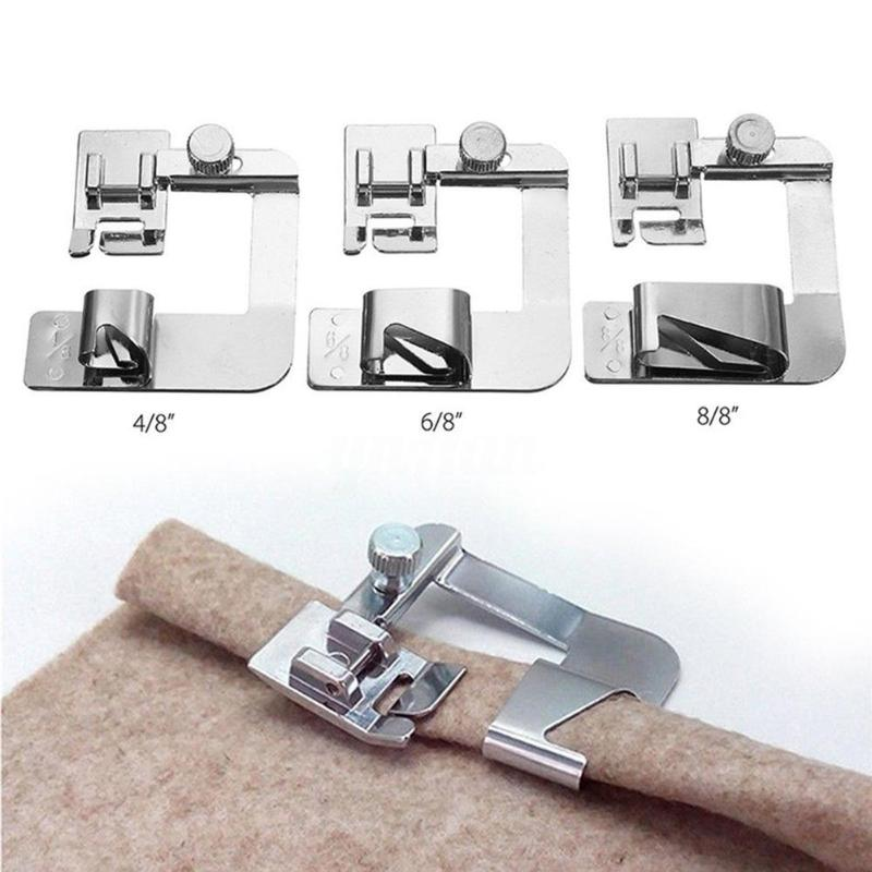 13-25 cm Domestic Sewing Machine Foot Presser Rolled Hem Feet Set for Brother Singer Sewing Accessories