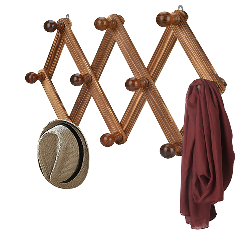 Wooden Expandable Coat Rack Wall Mounted 10 Hooks Clothes Hat Bag Hanger For Home Bedroom