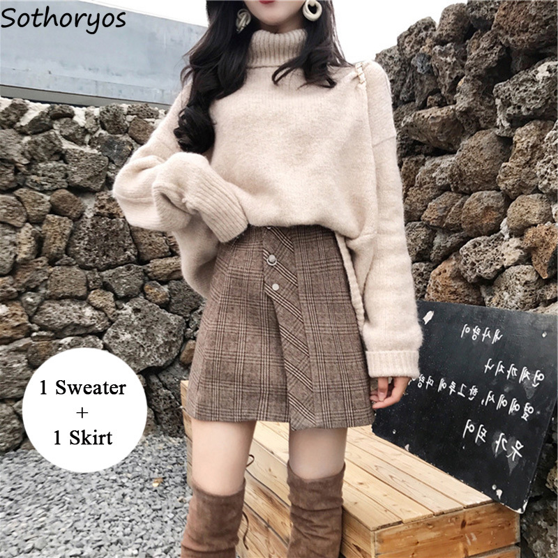 Women Sets Turtleneck Long Sleeved Loose Simple All-match Clothing Korean Style Elegant Skirt  2 Piece Outfits For Womens Set