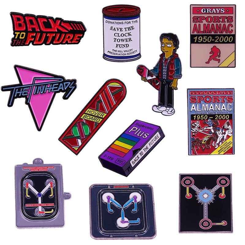Back To The Future enamel pin Marty Mcfly Hover Board brooch Sports Almanac Flux Capacitor Clock Tower Donation Cans VHS Badge