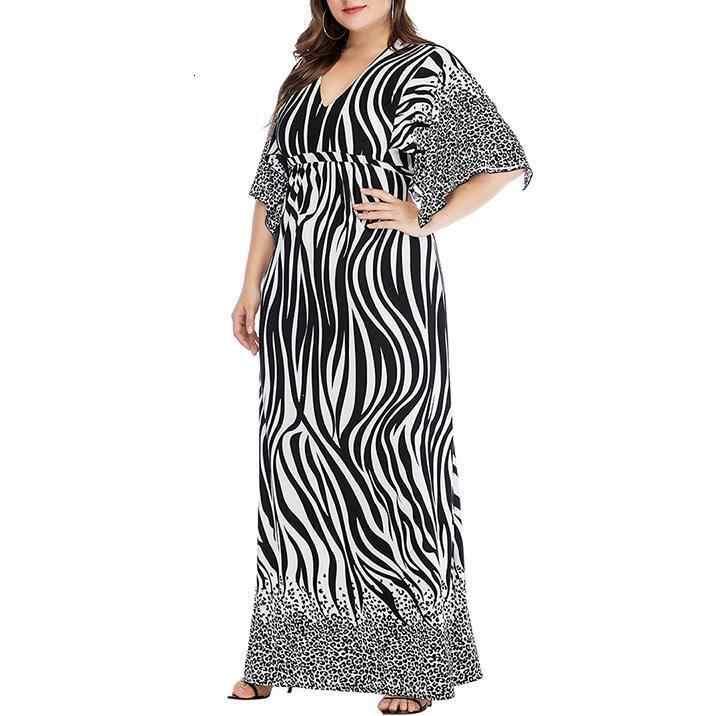Принт зебры 6xl + Размер jurk Элегантные V-hals Korte Mouw Lange jurk Повседневные Вечерние туфли на шнуровке