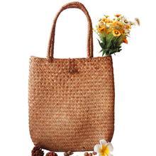 Rattan Grass Shoulder Bags Straw Womens Knitting Handbags Handmade Storage Bag Travel Wicker Flower Basket