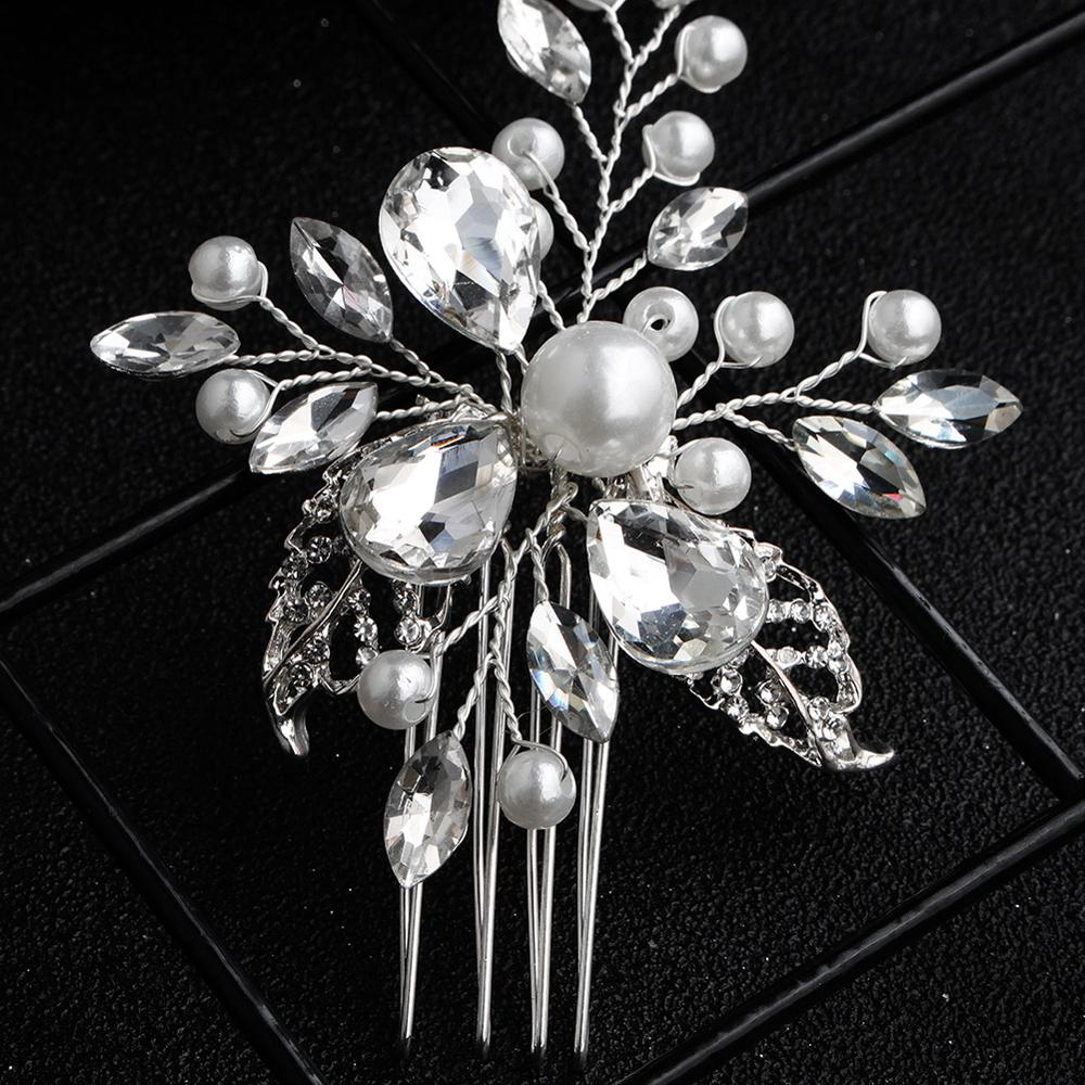 Women Hair Pin Rhinestone Tiara Bridal Clips Party Crystal Bride Bridesmaid Pearl Hair Combs For Wedding Hair Accessories FS19