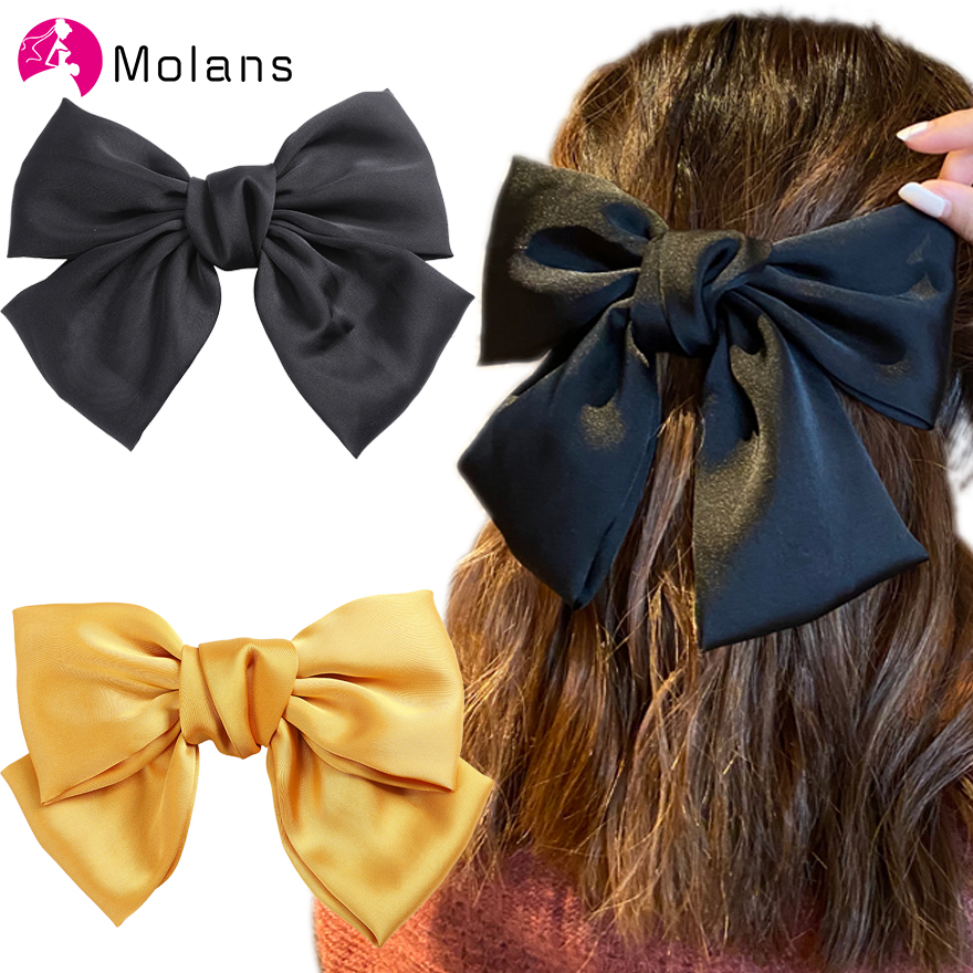 Molans New Satin Bow Spring Haripins Scrunchie Oversize Bowknot Solid Hair Clips Girl's Hair Accessories Bow Barrettes Hair Rope