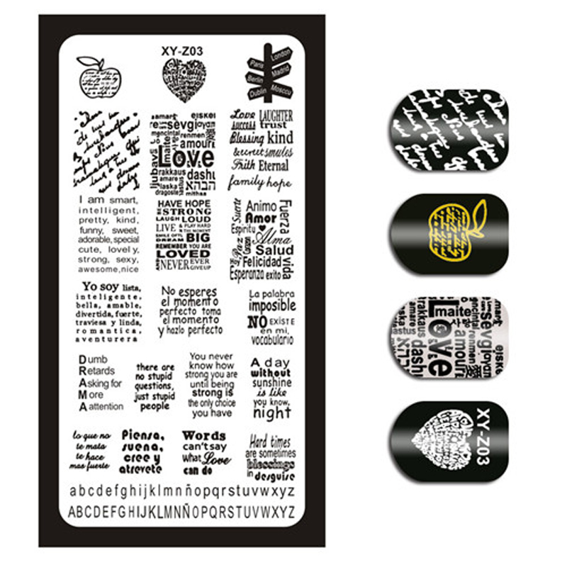 1 Piece Nail Art Image Stamp Stamping Plates English Letter Pattern Manicure Template Plates DIY Polish Stencil Nail Tools XYZ03