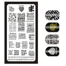 1 חתיכה נייל אמנות תמונה חותמת Stamping צלחות אנגלית מכתב דפוס מניקור צלחות תבנית DIY פולני סטנסיל נייל כלים XYZ03