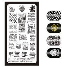 Placas de estampagem de imagem, padrão de letras em inglês, para manicure, faça você mesmo, ferramentas de estêncil xyz03, 1 peça