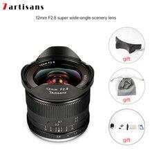 Lentes 7 artesãos 12mm f2.8 lentes ultra grandes angulares, para e mount aps c, câmeras sem espelhos, a6500 a6300 a7 manual focus prime fixo