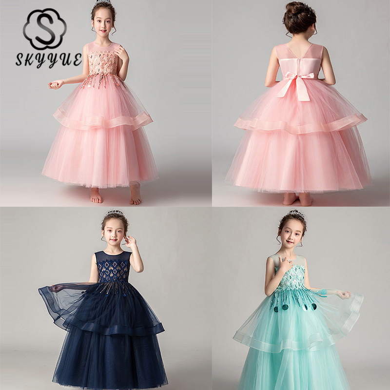 Skyyue   Flower     Girl     Dress   for Wedding Sweet Lace Princess   Dress   Sequine Tassel Kids Party Communion   Dresses   Elegant 2019 CK2981