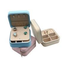 Elegant Zipper Portable Jewelry Organizer Girls  Travel Jewelry Case Mini Stud Earrings Rings Storage Box