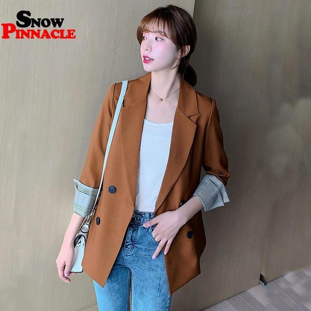 Women Blazer Autumn Casual double botton Women Blazer Pockets Jackets Female Retro Suits Coat Feminino blazers 6