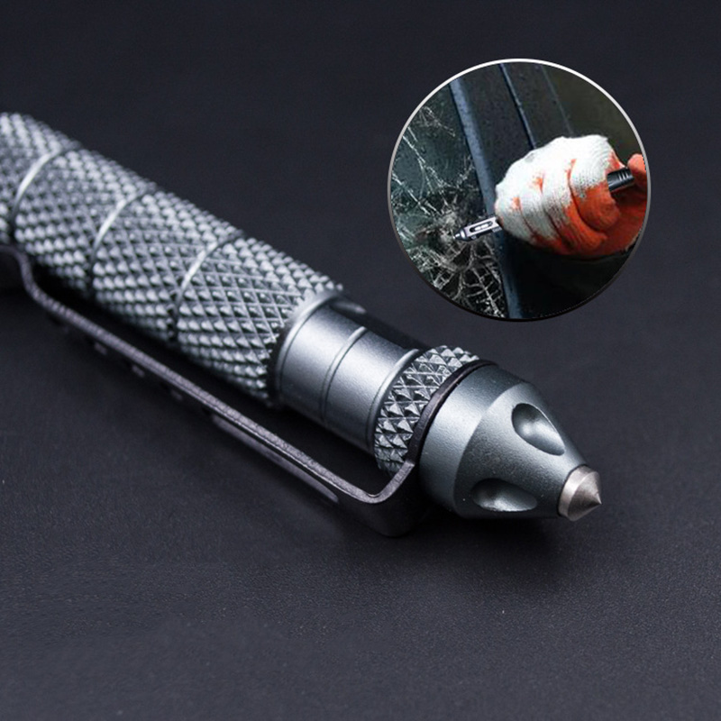 1Piece Non-slip Metal Ballpoint Pens Creative Pens Multifunctional Ball Pens For Boys Gifts Novelty Tactical Protect Tools