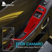 Carbon Fiber for Chevrolet Camaro 2013 2014 2015 Accessories Interior Trim Door Window Lifter Control Switch Panel Cover Sticker