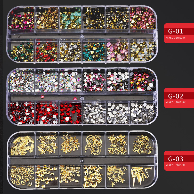 Стразы для ногтей разных размеров с 12 сетками, 3D кристаллы AB, прозрачные камни для ногтей, драгоценные камни, жемчуг, самодельные Украшения д...