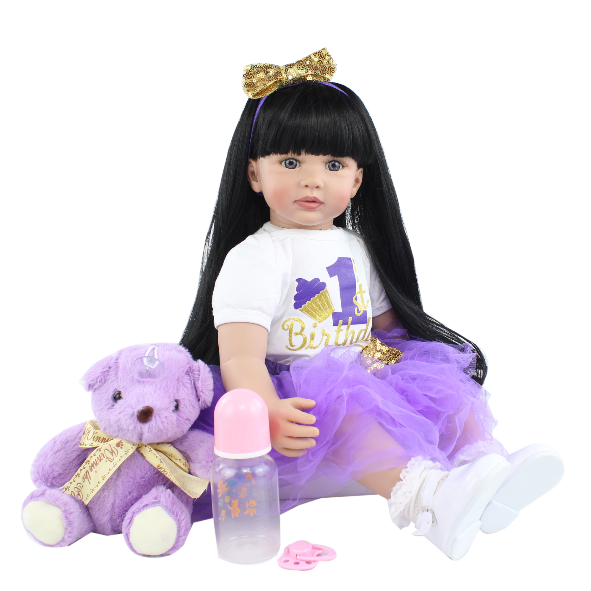 60 CM Soft Silicone Reborn Baby Doll Toys For Girl 24 Inch Black Long Hair Princess Toddler Dress Up Bebe Kids Birthday Gift